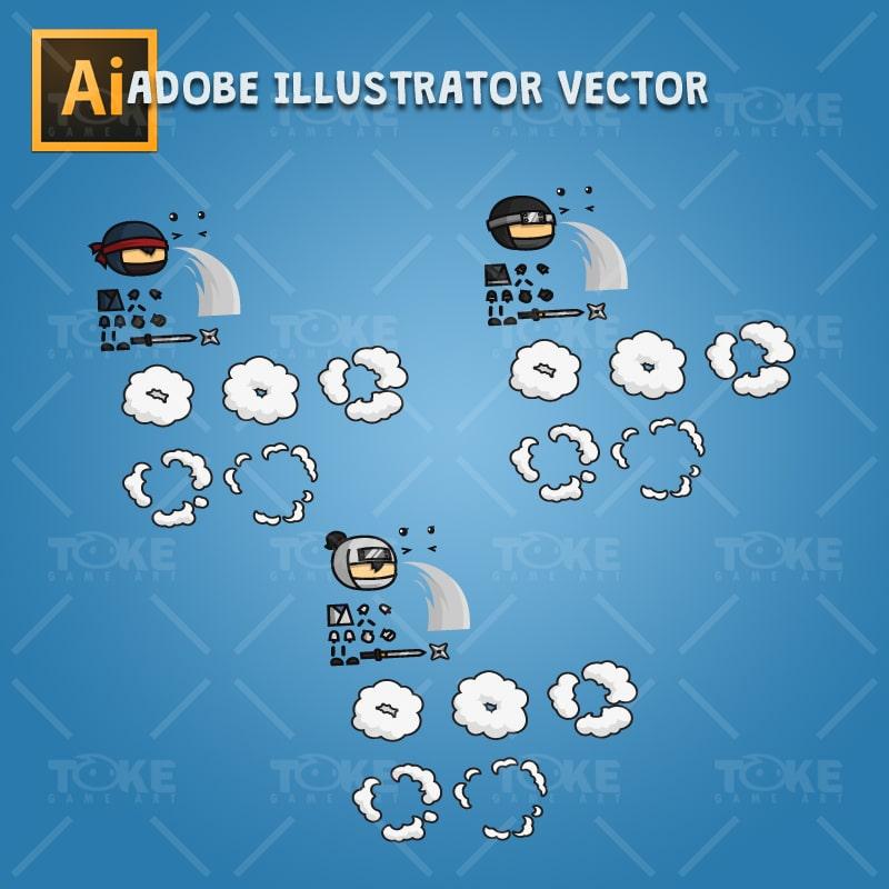 Mini Ninja - Adobe Illustrator Vector Art Based Character