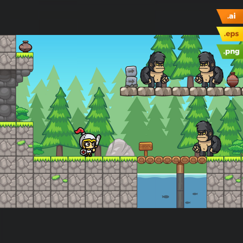 Pine Hills Platformer Tileset - 2D Adventure Games