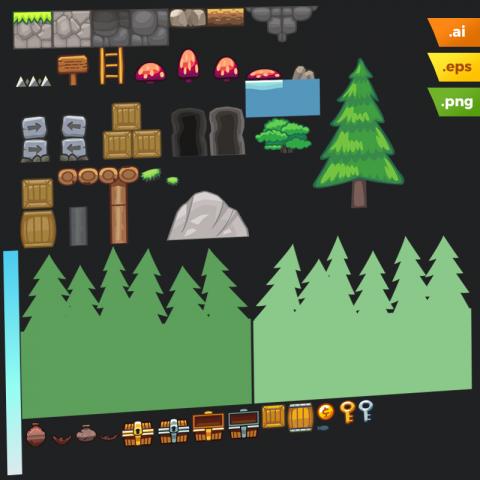 Pine Hills Platformer Tileset - Adobe Illustrator Vector Art Based