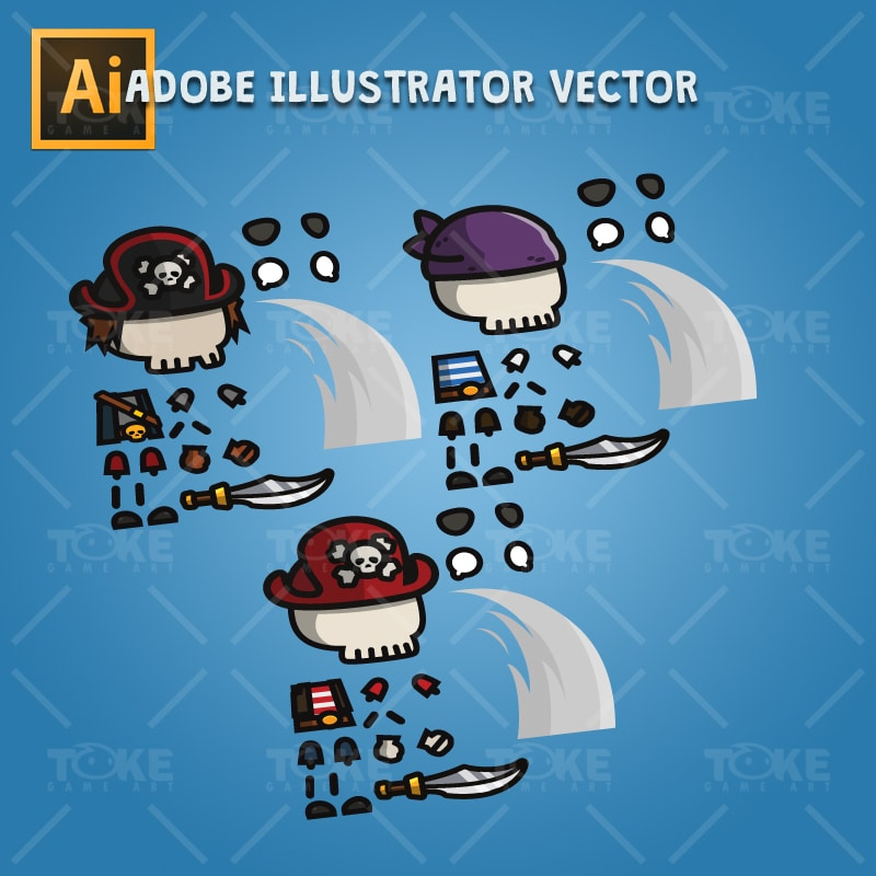 Pirate Skeleton - Adobe Illustrator Vector Art Based Character