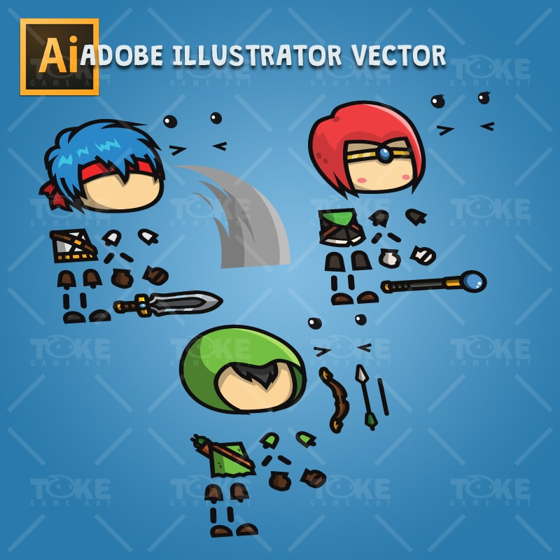 RPG Hero Character Pack - Adobe Illustrator Vector Art Baased Character