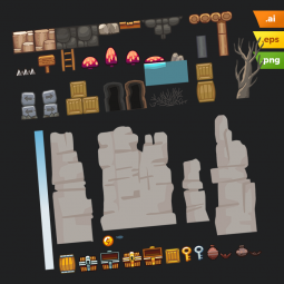Rocky Desert Platformer Tileset - Adobe Illustrator Vector Art Platformer Set