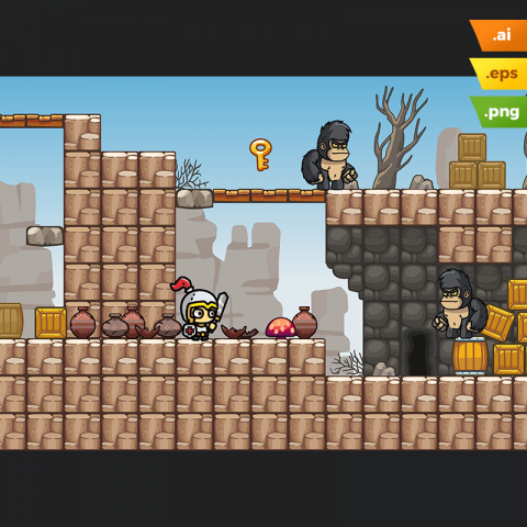 Rocky Desert Platformer Tileset - Cartoon Android Game Level Set