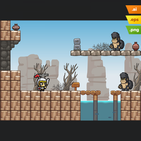 Rocky Desert Platformer Tileset - Download Game Tileset