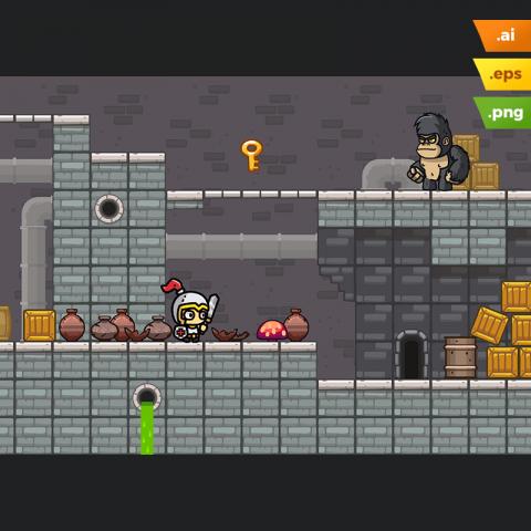Sewer Platformer Tileset - 2D Game Art for Indie Game Developer