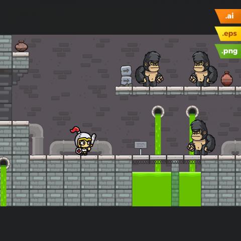 Sewer Platformer Tileset - Cartoon Game Platformer
