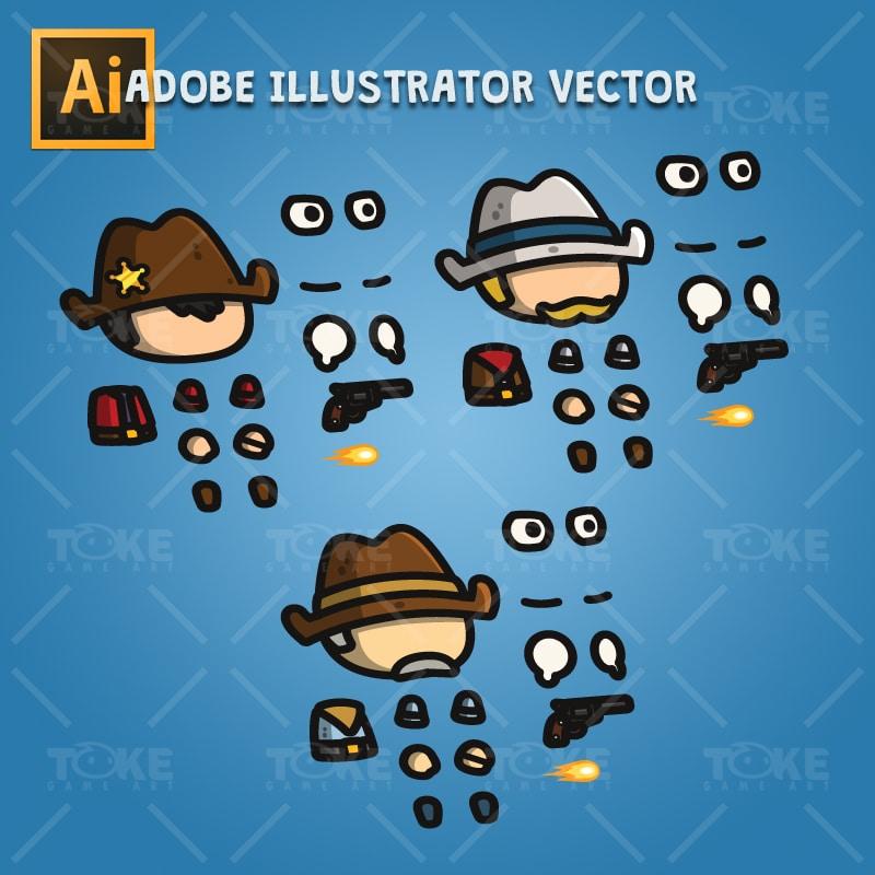 Tiny Cowboys - Adobe Illustrator Vector Art Based