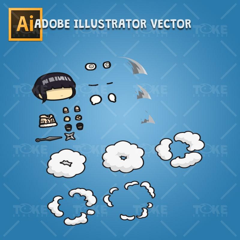 White Pupil Shinobi Girl - Adobe Illustrator Vector Art Based Character