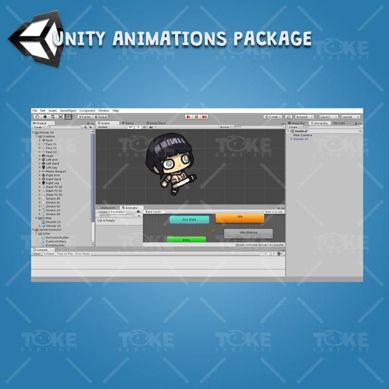White Pupil Shinobi Girl - Unity Character Animation Ready