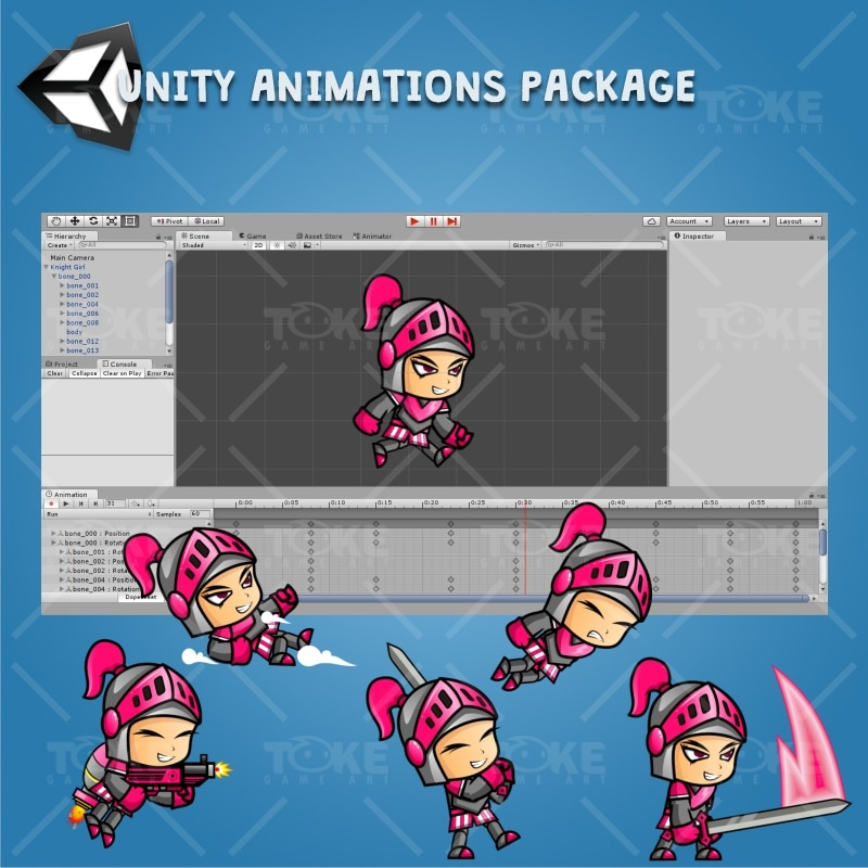 Girl Knight Game Character Sprite - Unity Character Animation Ready