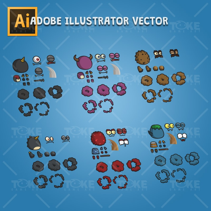 Cartoon Enemy Pack 03 - Adobe Illustrator Vector Art Based Character