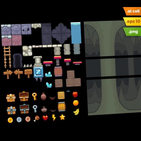 Cave Platformer Tileset - Adobe Illustrator Vector Art Based Game Level Set