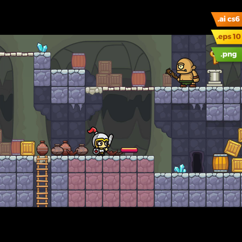 Cave Platformer Tileset - Endless Run Game