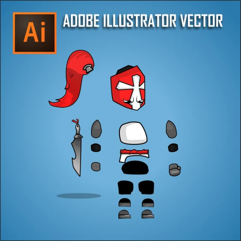 Chibi Crusader Knight - Adobe Illustrator Vector Art Based Character