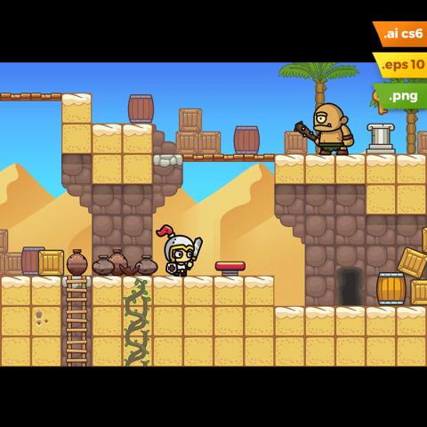 Desert Platformer Tileset - 2D Side Scrolling Game