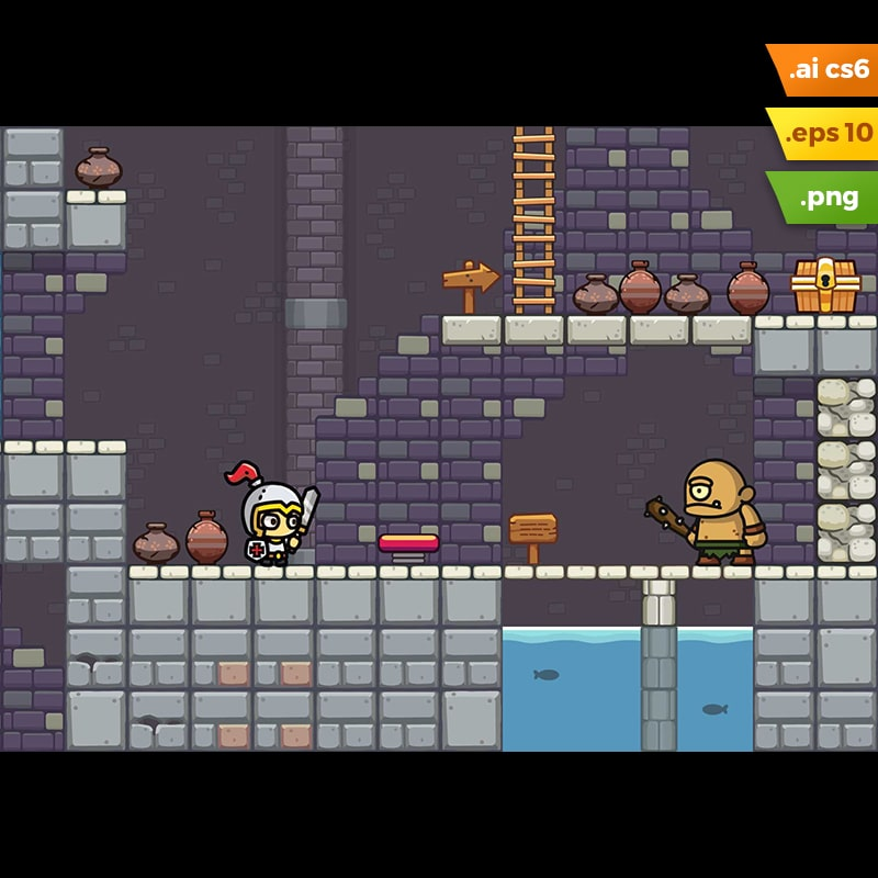 Dungeon Platformer Tileset - 2D Adventure Side Scrolling Game