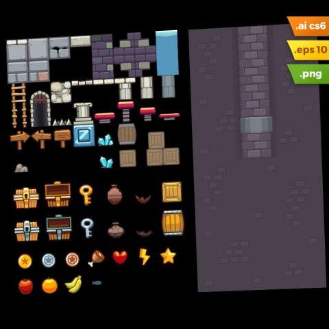 Dungeon Platformer Tileset - Adobe Illustrator Vector Art Based Game Level Set