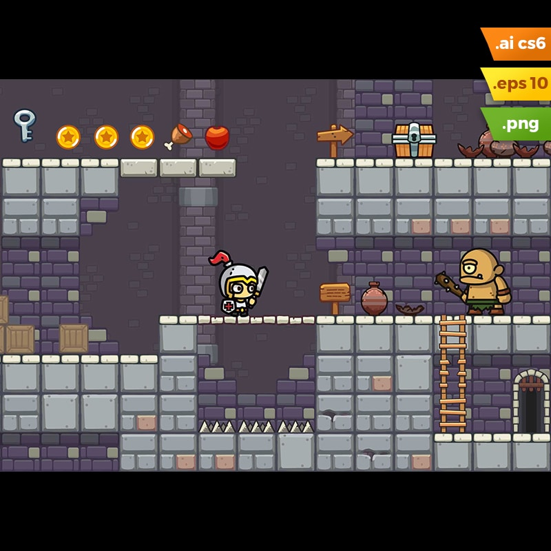 Dungeon Platformer Tileset - Cartoon Level Set
