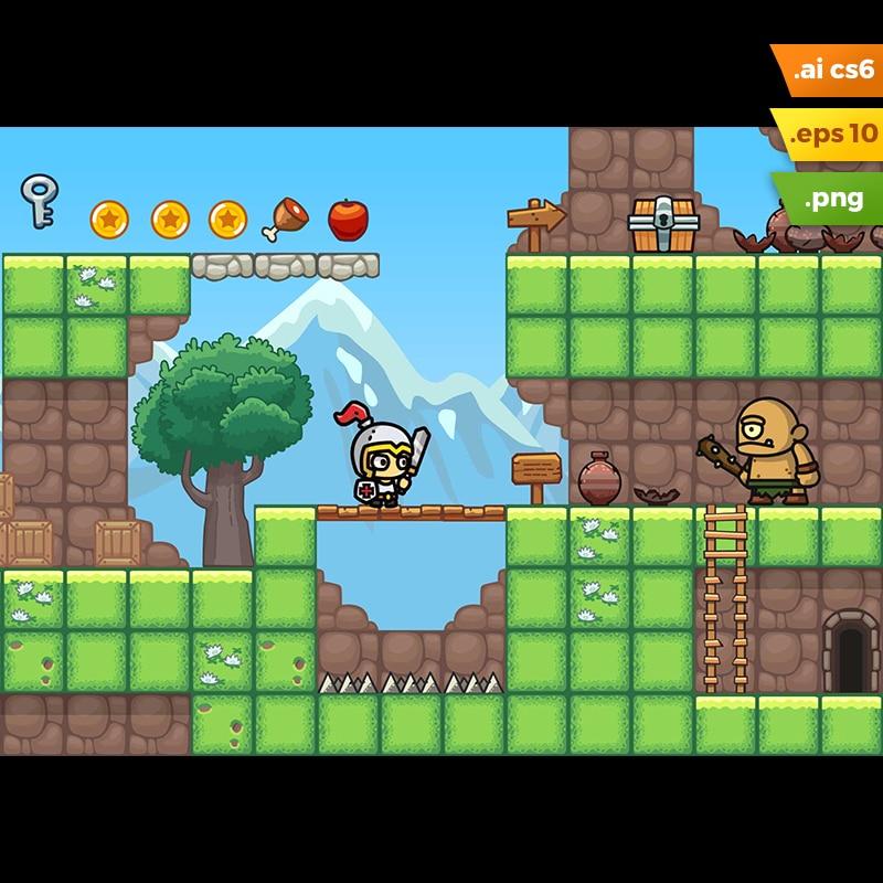 Grassy Hills Platformer Tileset - 2D Side Scrolling Adventure Game