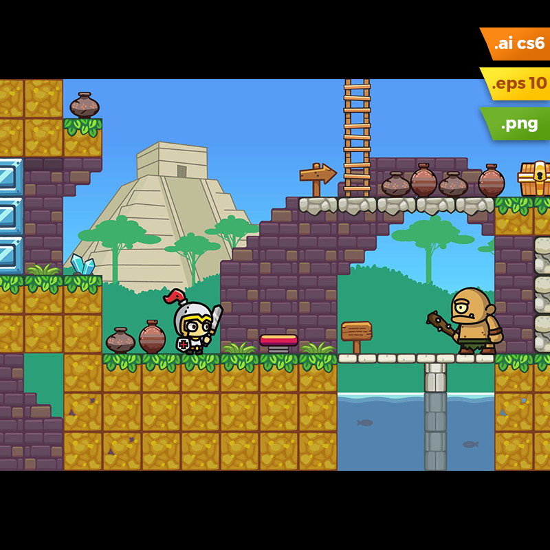 Mayan Temple Platformer Tileset - 2D Adventure Game