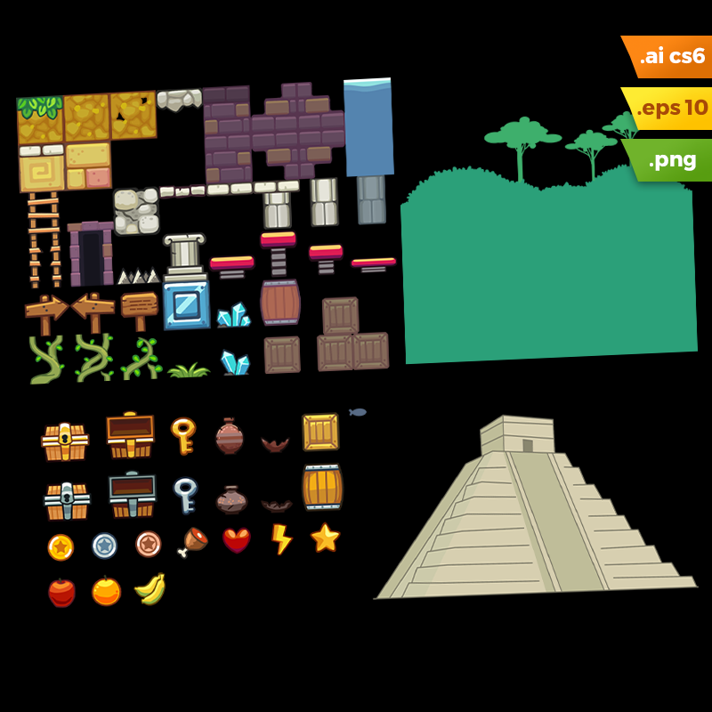 Mayan Temple Platformer Tileset - Vector Art Based Game Tileset