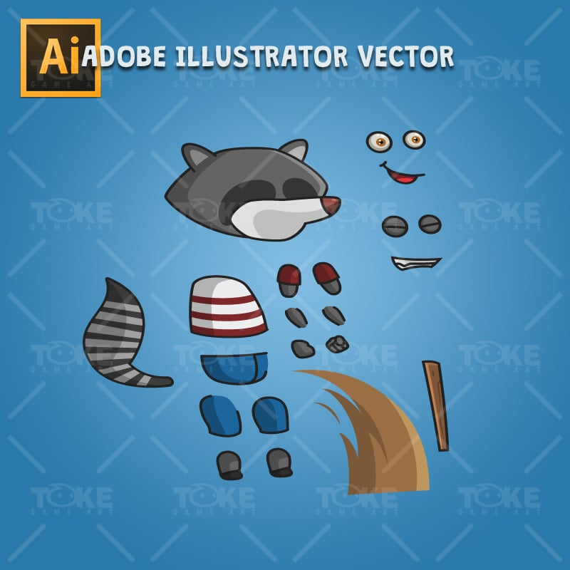 Raccoon - Adobe Illustrator Vector Art Based Character
