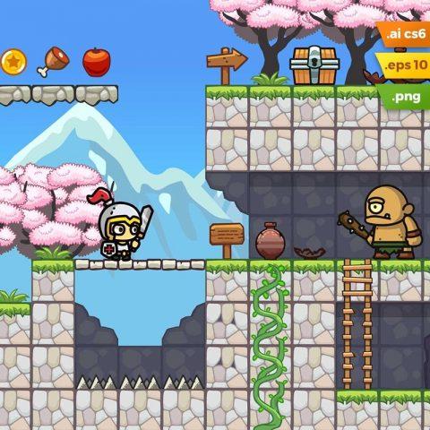 Sakura Garden Platformer Tileset