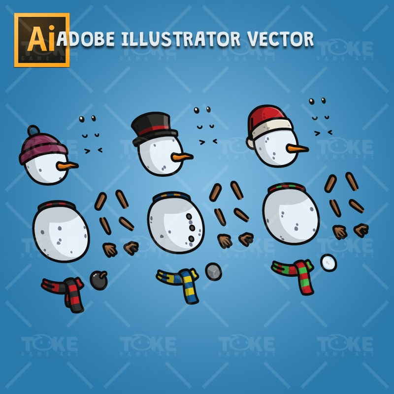 Snowman Character Pack - Adobe Illustrator Vector Art Based Character