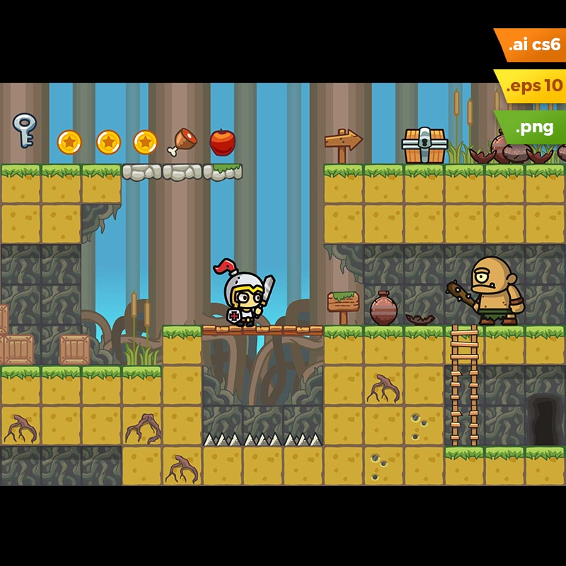 Swamp Platformer Tileset - 2D Side Scrolling Game