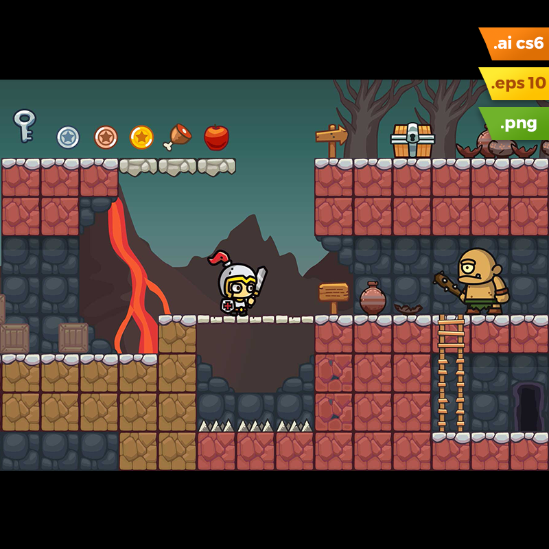 Volcano Area Platformer Tileset - 2D Lava Themed Level Set
