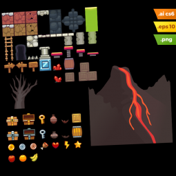 Volcano Area Platformer Tileset - Adobe Illustrator Vector Art Based Volcano Level Set