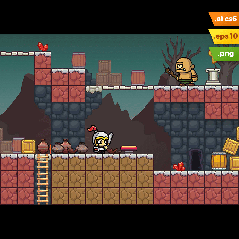 Volcano Area Platformer Tileset - Volcanic Eruption Game