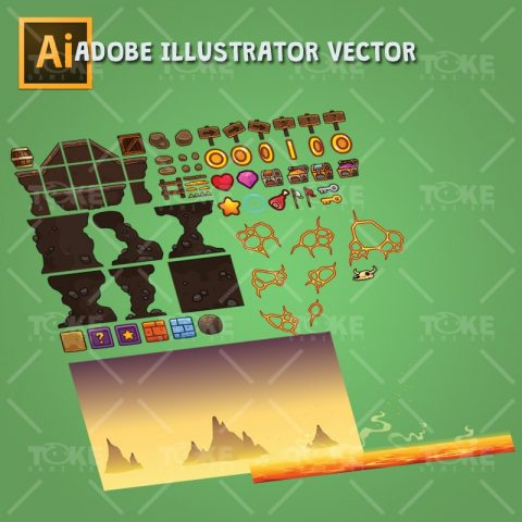 Volcano Level Set - Adobe Illustrator Vector Art Based Tileset