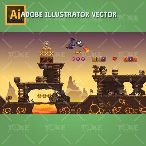 Volcano Level Set - Volcanic Eruption Themed 2D Adventure Game