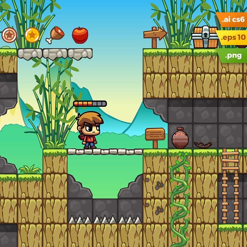 bamboo mountain platformer tileset 2d game level set tokegameart