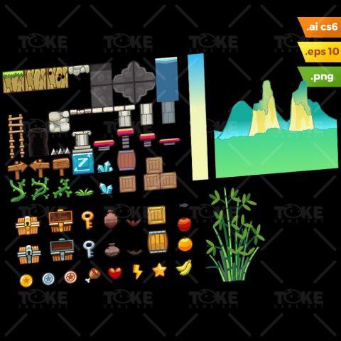 Bamboo Mountain Platformer Tileset - Adobe Illustrator Vector Art Based