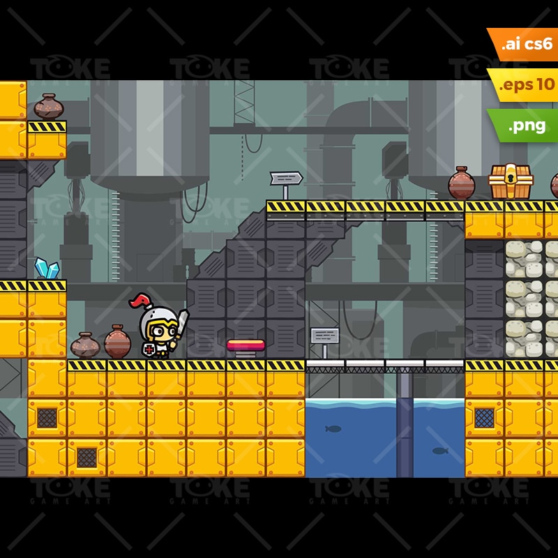 Factory Platformer Tileset - Indie Game Developer