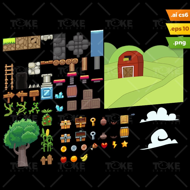 Farm Platformer Tileset - Adobe Illustrator Vector Art Based