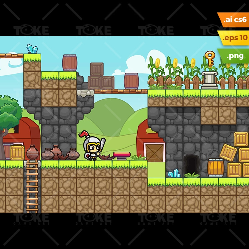 Farm Platformer Tileset - Cartoon Style Level Set