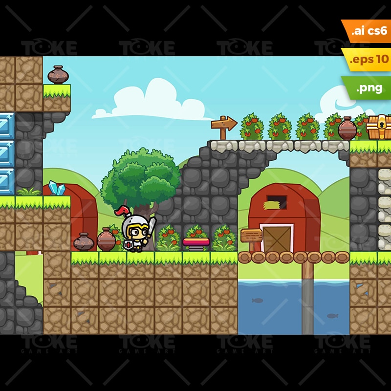 Farm Platformer Tileset - Run Endless Game Level Set