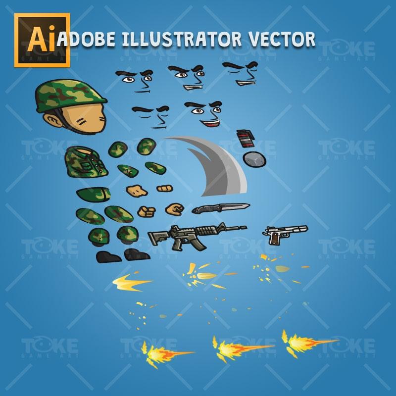 Frontier Army Guy - Adobe Illustrator Vector Art Based