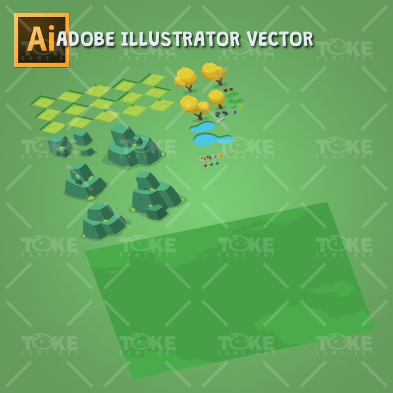 Isometric Forest Tileset - Adobe Illustrator Vector Art Based