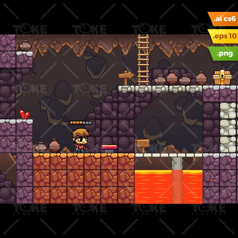 Lava Cave Platformer Tileset - Game Preview