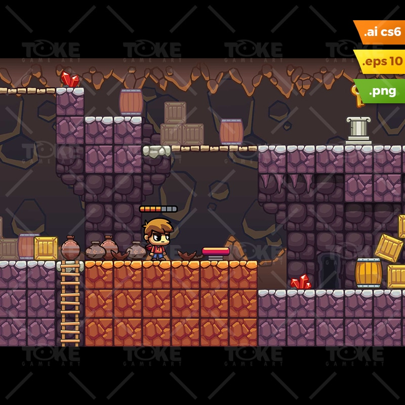 Lava Cave Platformer Tileset - Royalty Free Game Asset for Indie Game Developer