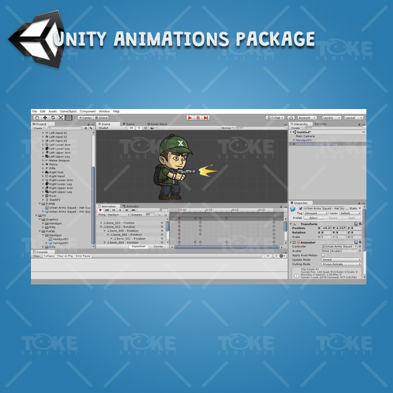 Urban Army Squad - Hat Guy - Unity Character Animation Ready with Spriter2UnityDX Tool