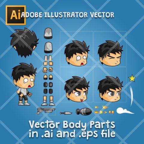 Nanz - 2D Boy Game Character Sprite - Adobe Illustrator Vector Art Based