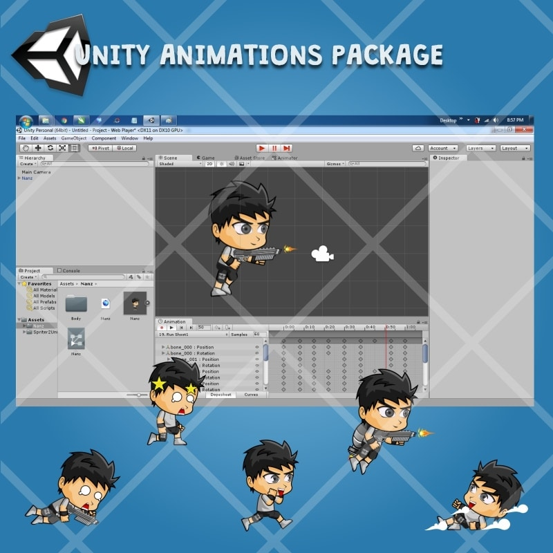 Nanz - 2D Boy Game Character Sprite - Unity Animation Ready