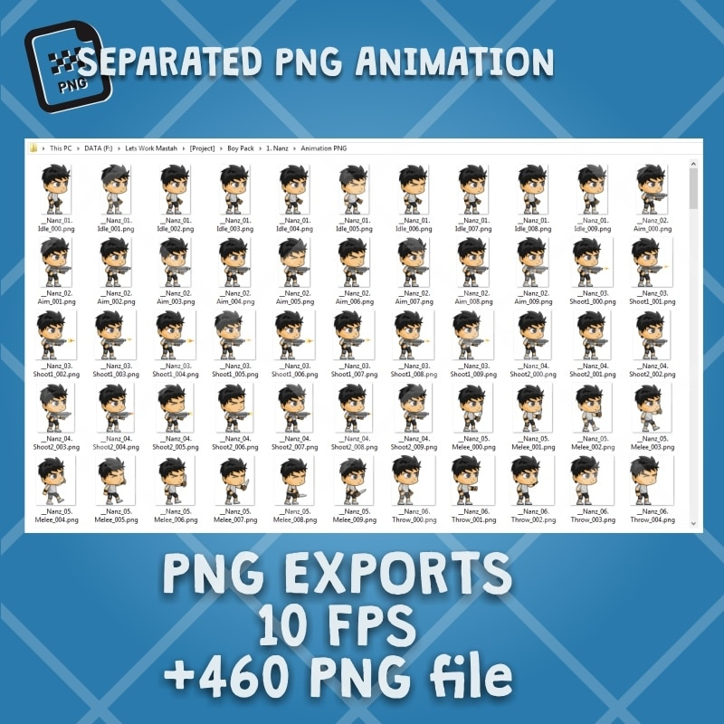 Nanz - 2D Boy Game Character Sprite - PNG Sequences Animation