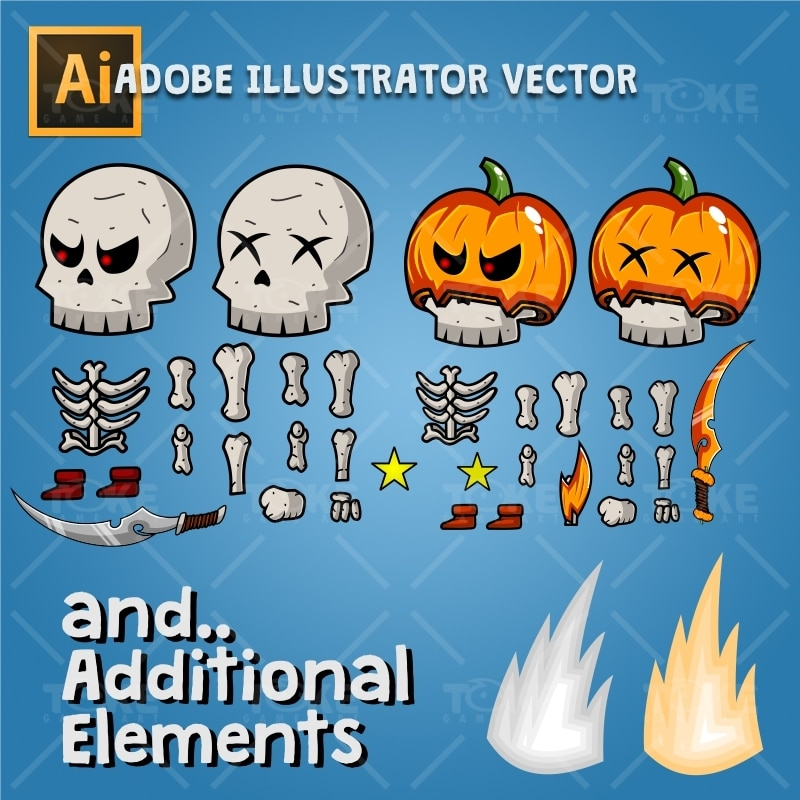 Skeleton Pack Game Character Sprite - Adobe Illustrator Vector Art Based