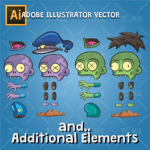 Zombie Pack 2D Game Character Sprite - Adobe Illustrator Vector Art Based